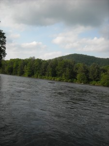Upriver from where I was fishing