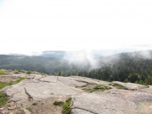 The top of Penobscot, lots of granite and wisps of clouds
