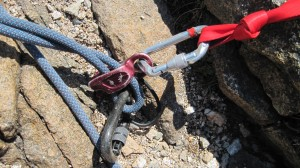 Close-up of of top-belay system
